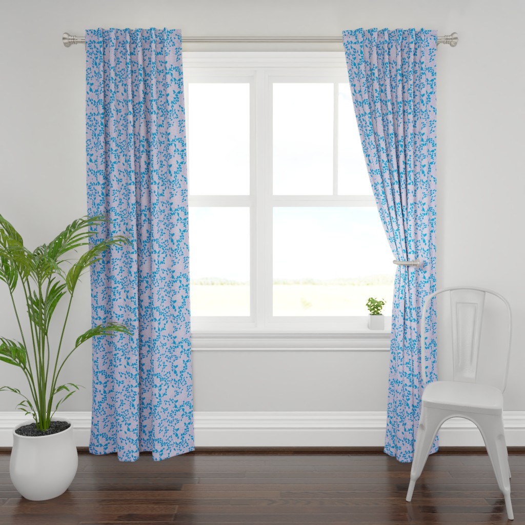 Plymouth Curtain Panel featuring Tiny Leaves Lavender Blue by dorothyfaganartist