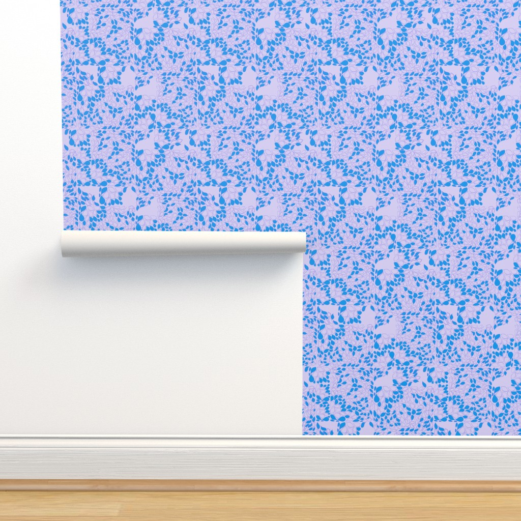 Isobar Durable Wallpaper featuring Tiny Leaves Lavender Blue by dorothyfaganartist