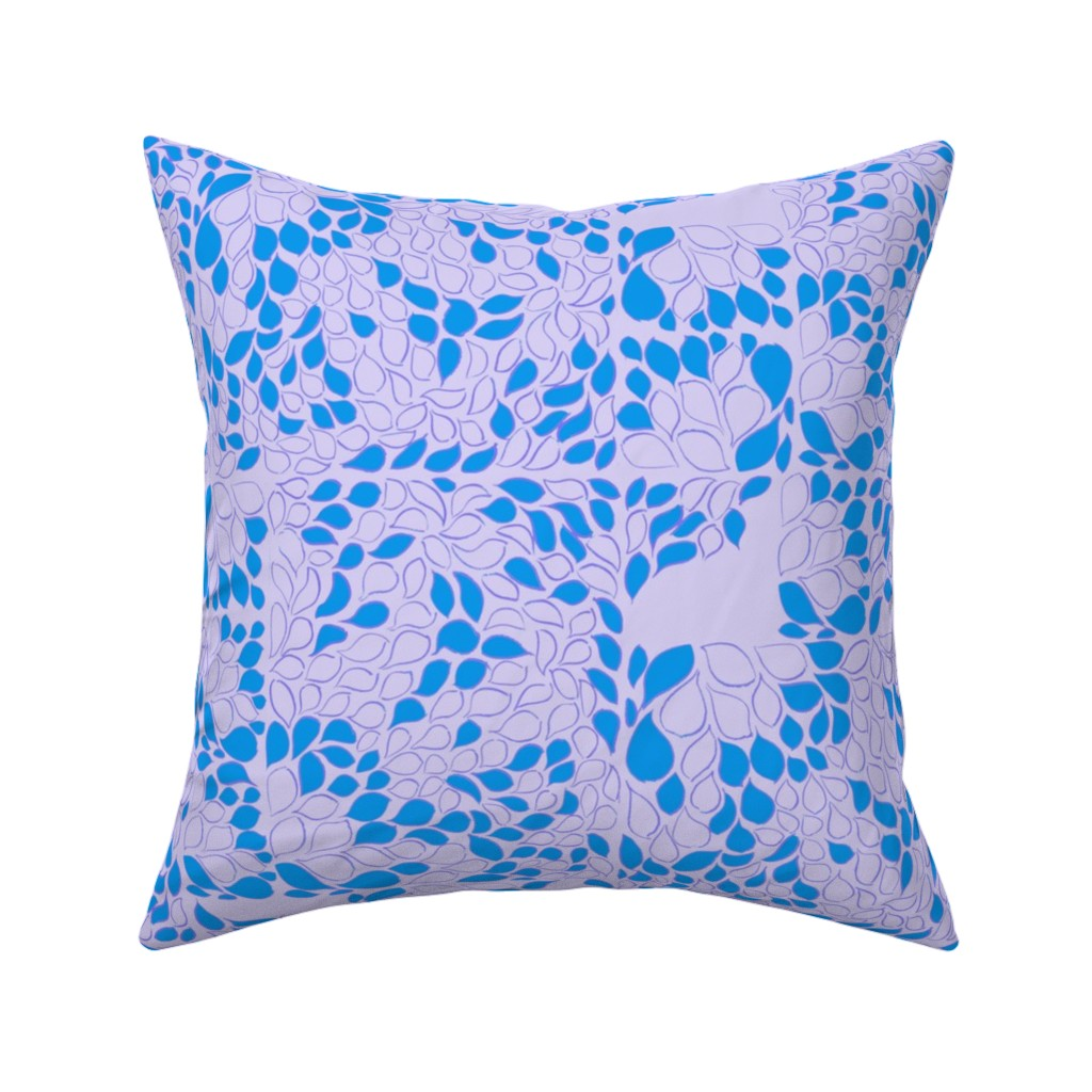 Catalan Throw Pillow featuring Tiny Leaves Lavender Blue by dorothyfaganartist