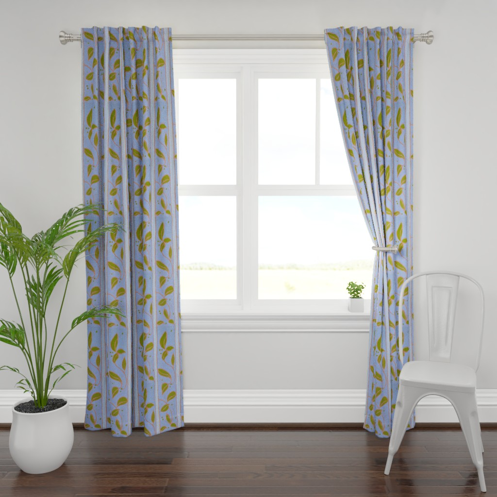 Plymouth Curtain Panel featuring Wide Stripe Provence Blue Leaf  by dorothyfaganartist