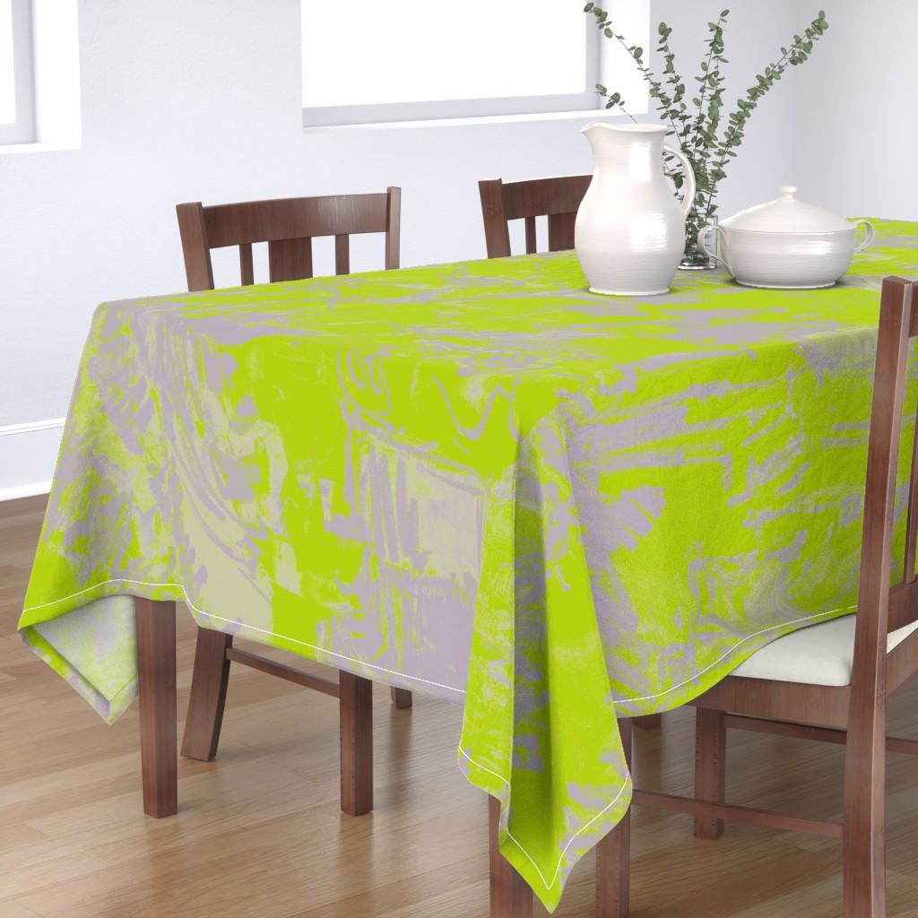 Bantam Rectangular Tablecloth featuring Wide Stripe Provence Blue Leaf  by dorothyfaganartist
