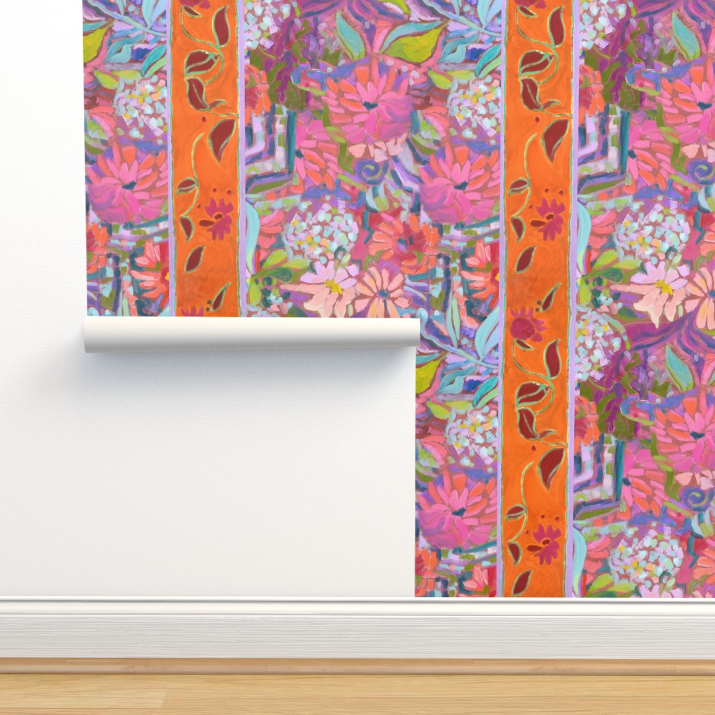 Isobar Durable Wallpaper featuring Wide Stripe Wildflowers Orange Pink Coral by dorothyfaganartist