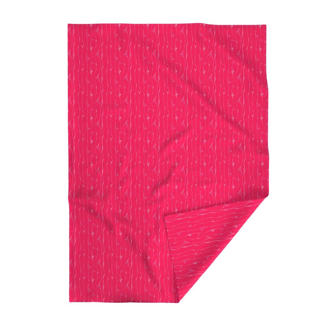 Lakenvelder Throw Blanket featuring Wide Stripe Wildflowers Orange Pink Coral by dorothyfaganartist