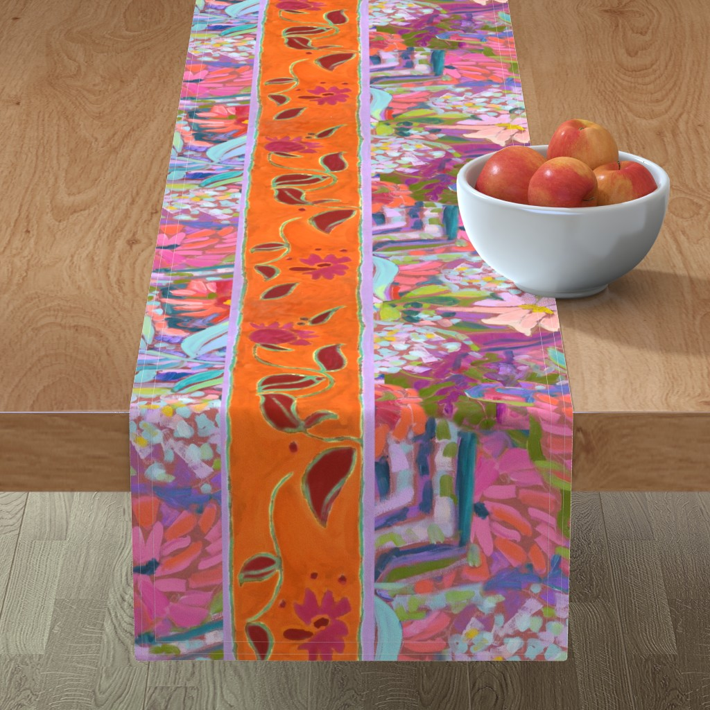 Minorca Table Runner featuring Wide Stripe Wildflowers Orange Pink Coral by dorothyfaganartist