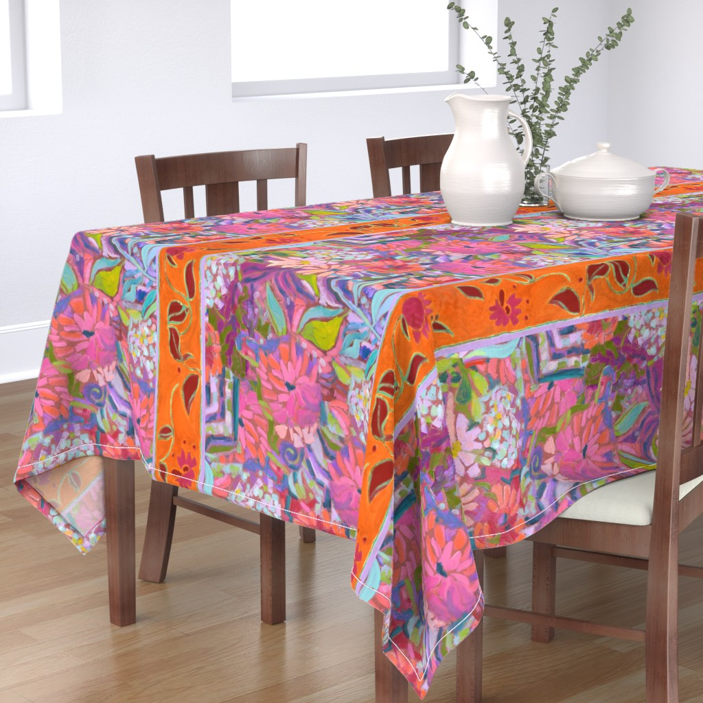 Bantam Rectangular Tablecloth featuring Wide Stripe Wildflowers Orange Pink Coral by dorothyfaganartist