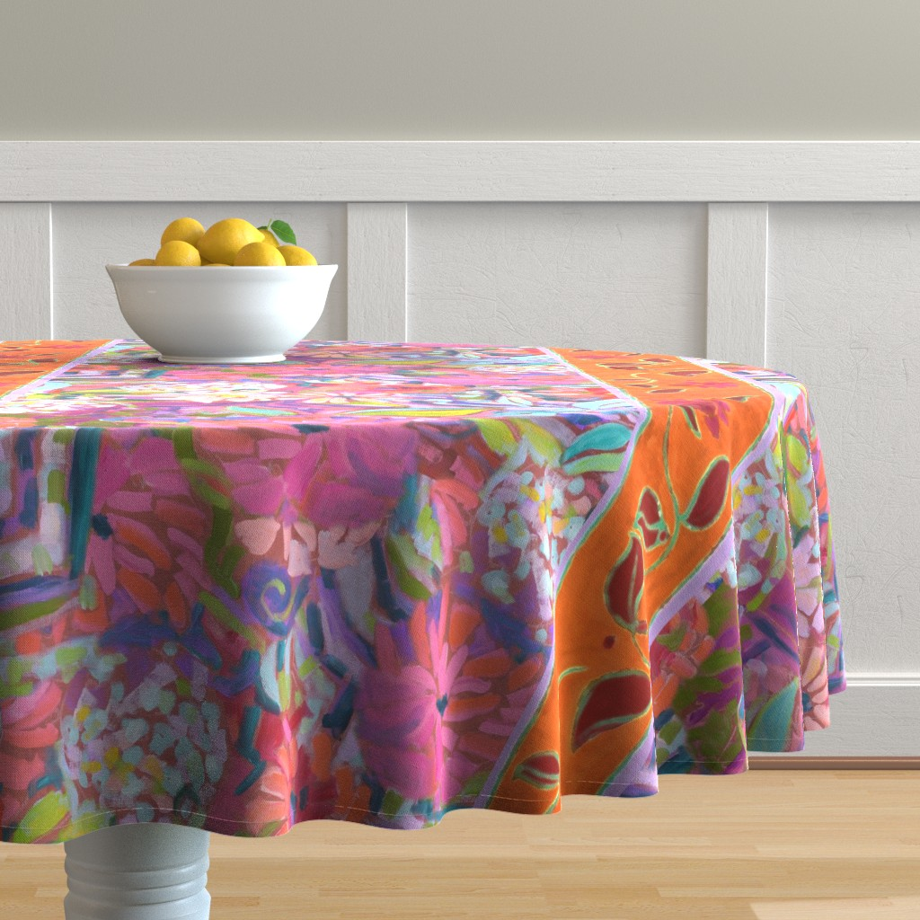 Malay Round Tablecloth featuring Wide Stripe Wildflowers Orange Pink Coral by dorothyfaganartist