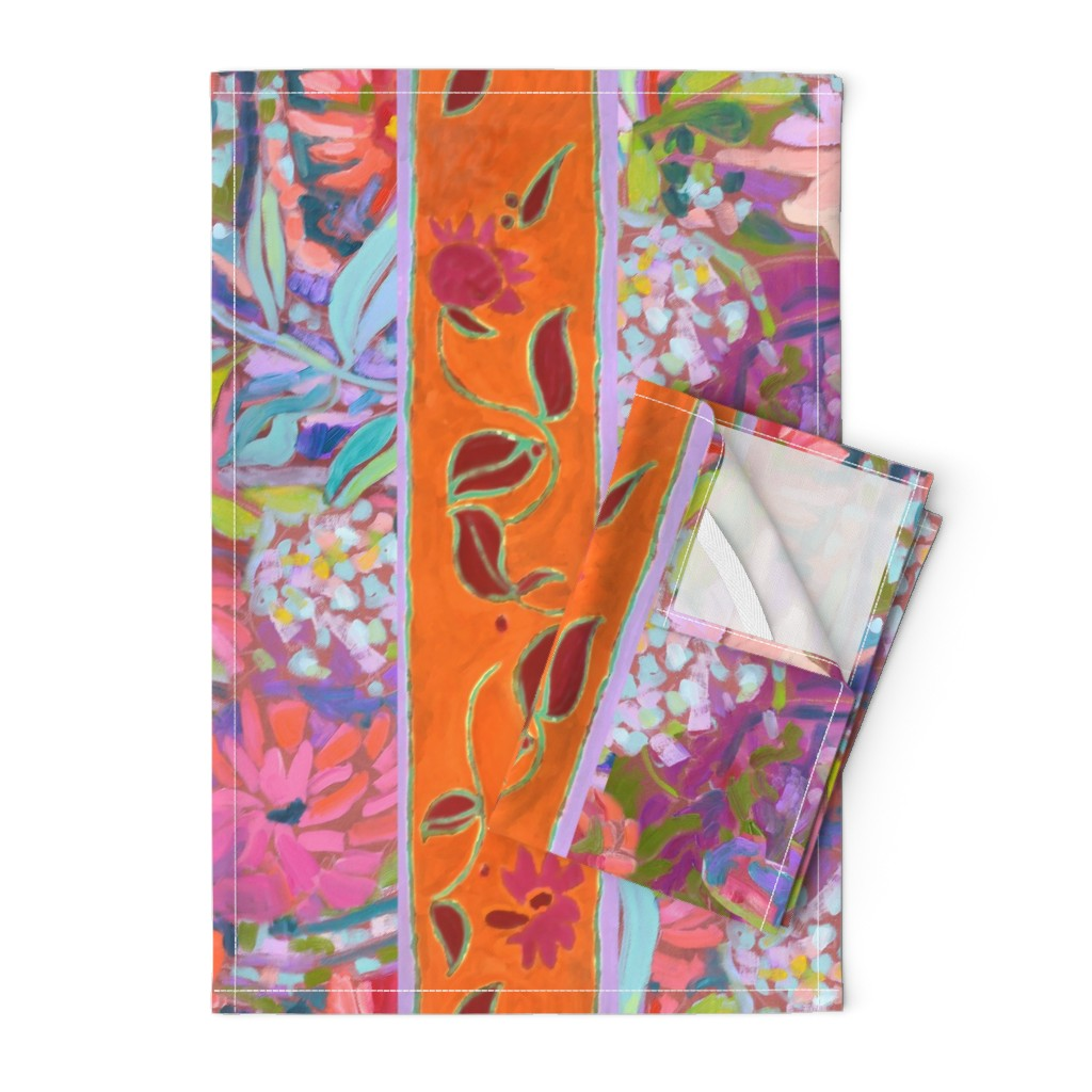 Orpington Tea Towels featuring Wide Stripe Wildflowers Orange Pink Coral by dorothyfaganartist