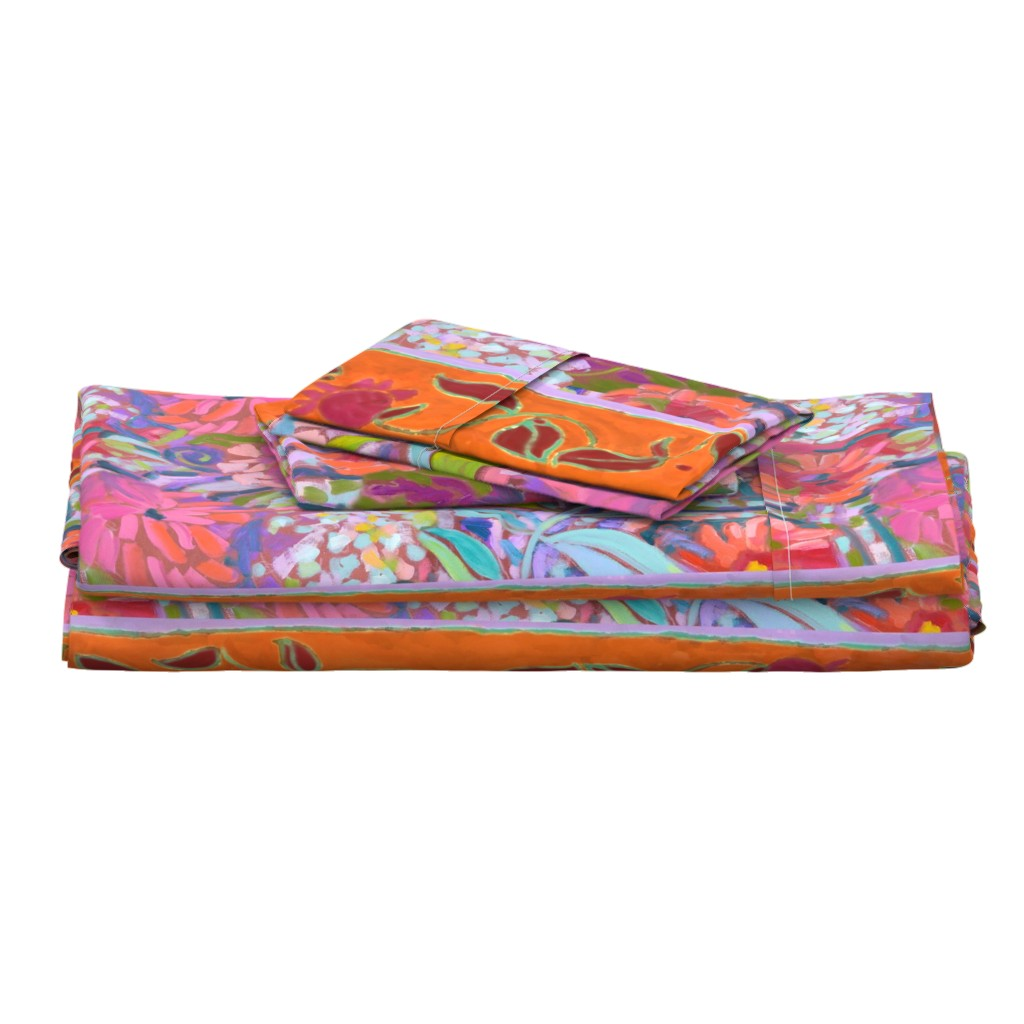 Langshan Full Bed Set featuring Wide Stripe Wildflowers Orange Pink Coral by dorothyfaganartist