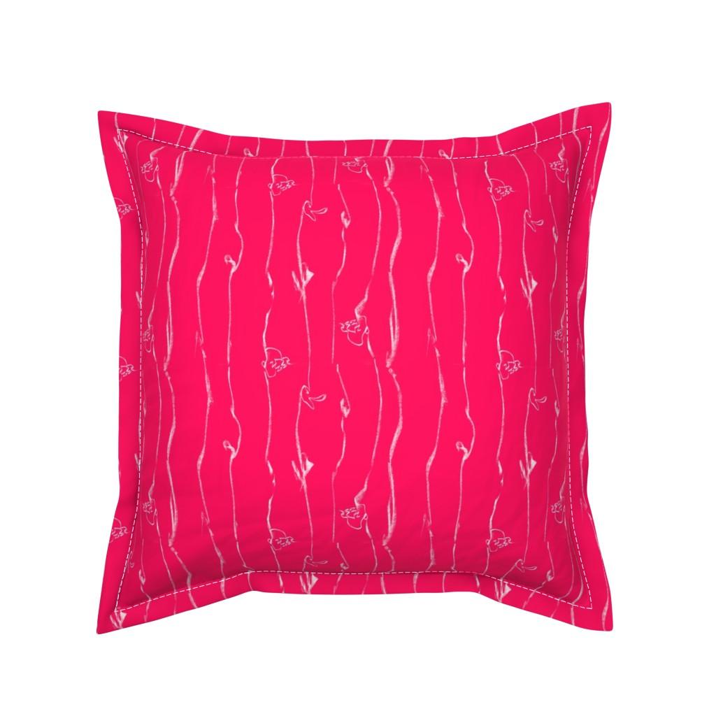 Serama Throw Pillow featuring Wide Stripe Wildflowers Orange Pink Coral by dorothyfaganartist