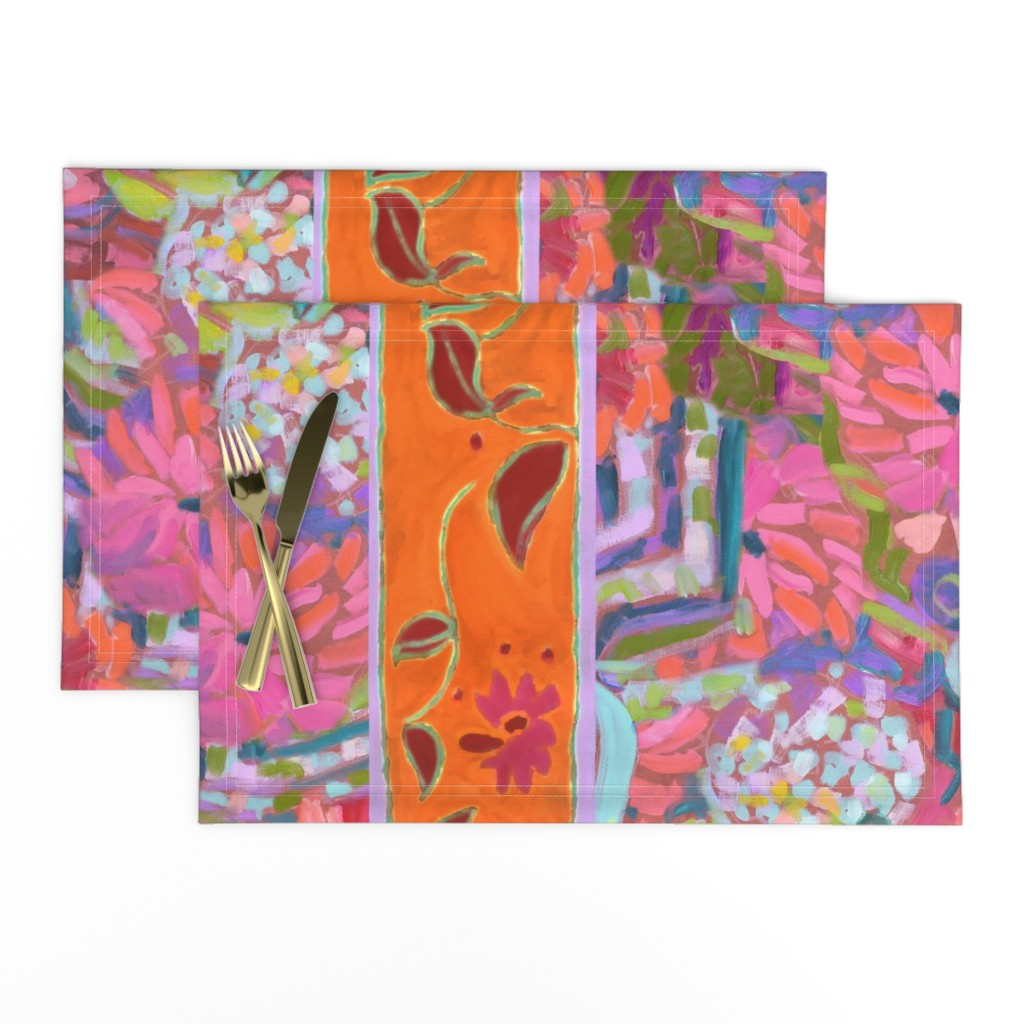 Lamona Cloth Placemats featuring Wide Stripe Wildflowers Orange Pink Coral by dorothyfaganartist