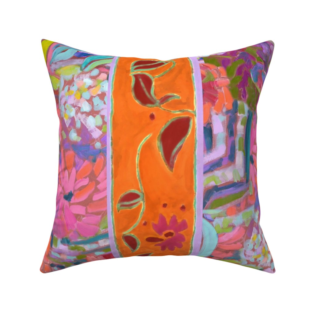 Catalan Throw Pillow featuring Wide Stripe Wildflowers Orange Pink Coral by dorothyfaganartist