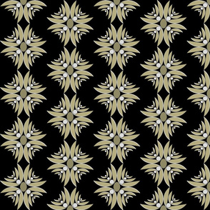 Ethnic Floral Cross in Black