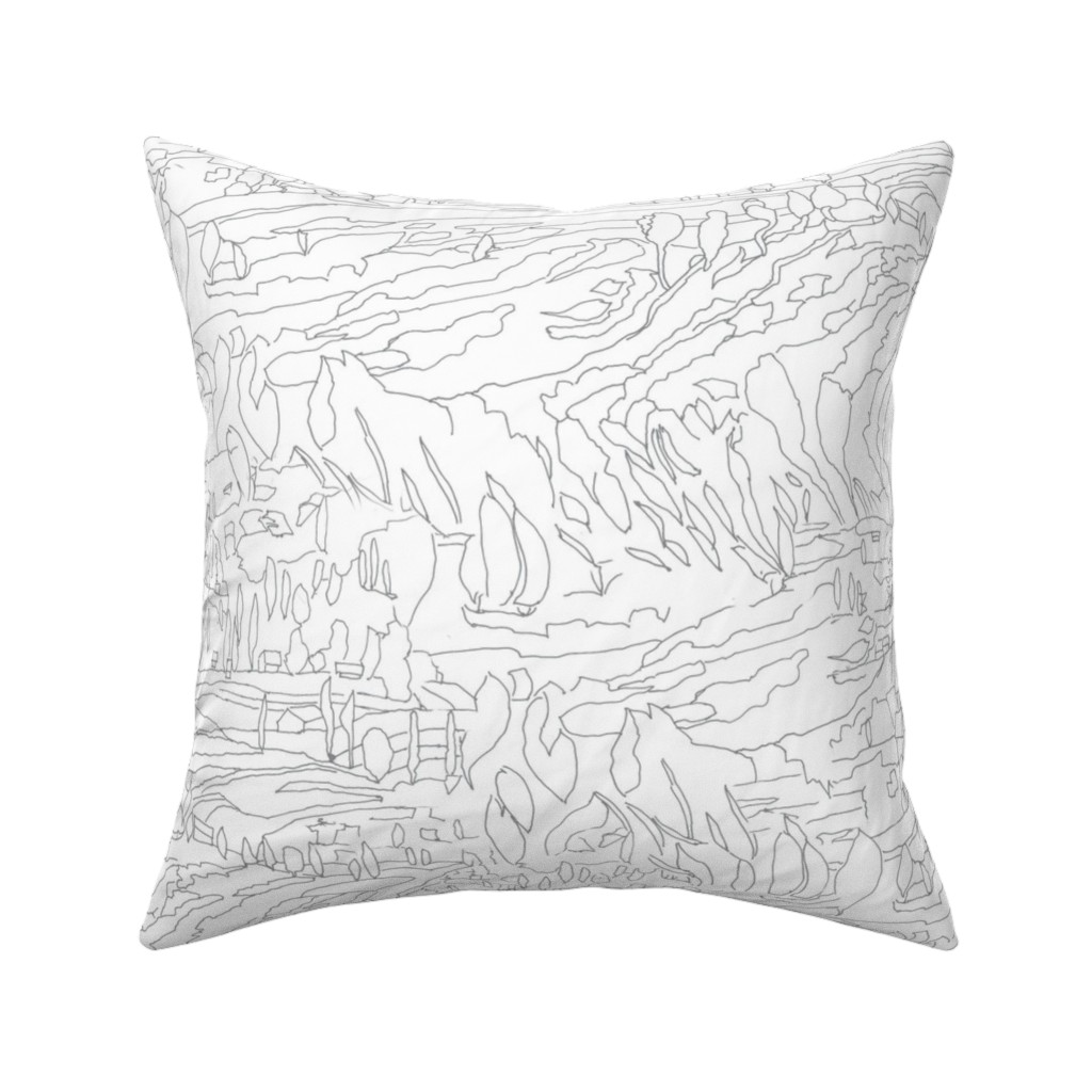 Catalan Throw Pillow featuring Charcoal & White Landscape  by dorothyfaganartist