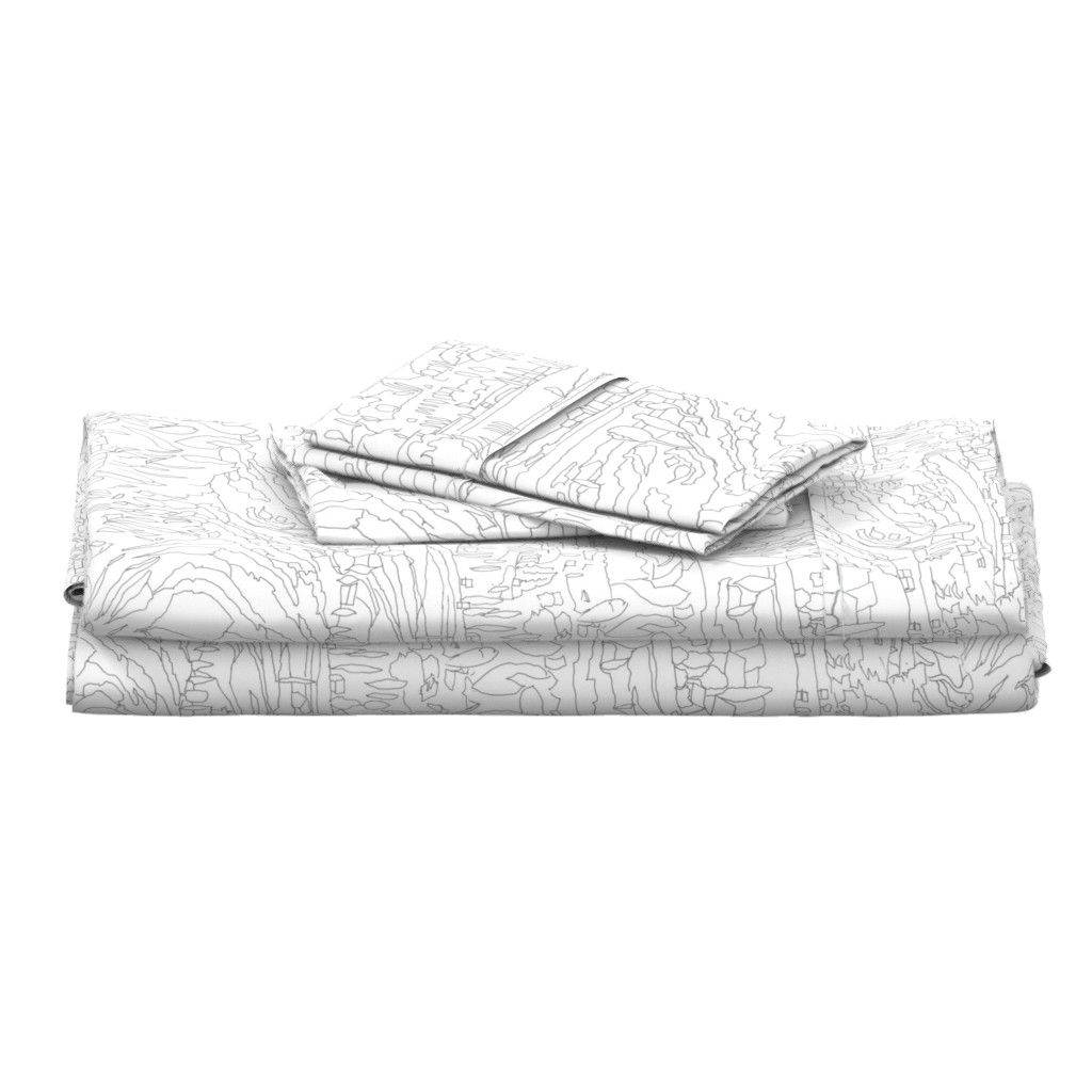 Langshan Full Bed Set featuring Charcoal & White Landscape  by dorothyfaganartist