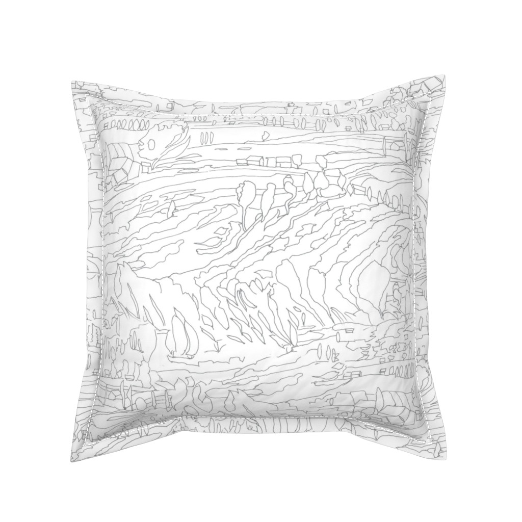 Serama Throw Pillow featuring Charcoal & White Landscape  by dorothyfaganartist
