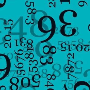 Large Black Numbers on Medium Blue