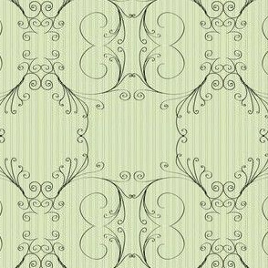 Filigree Scrollwork on Green Pinstripe