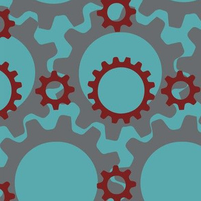 Gears in Blue and Red
