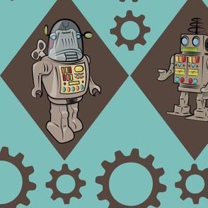 Robots in Blue and Brown