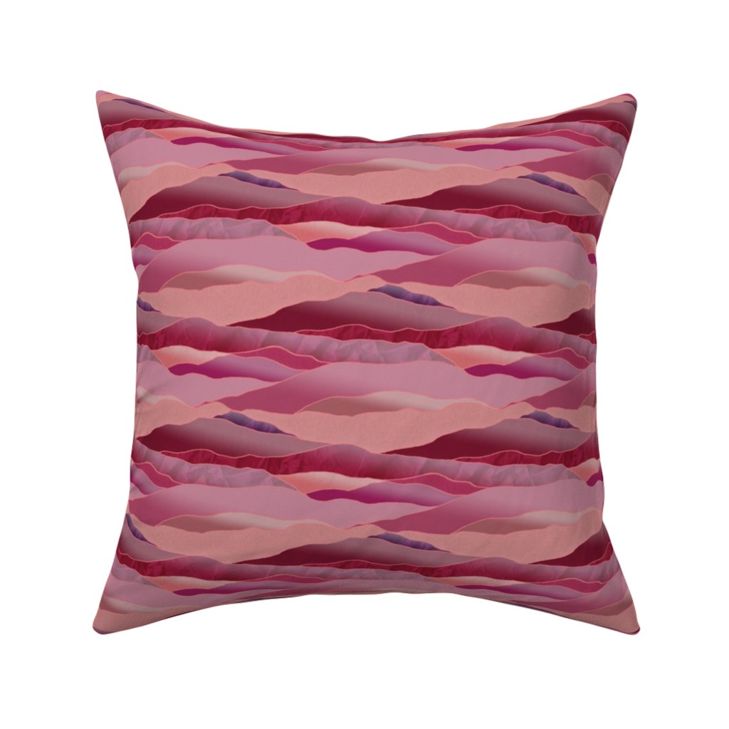 Catalan Throw Pillow featuring Approaching Dusk in the Desert, Leadlight Landscape - Medium Scale by rhondadesigns