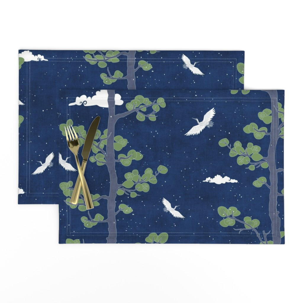 Lamona Cloth Placemats featuring Forest Fabric, Crane Fabric | Indigo Japanese print fabric, bird fabric (large scale) by forest&sea