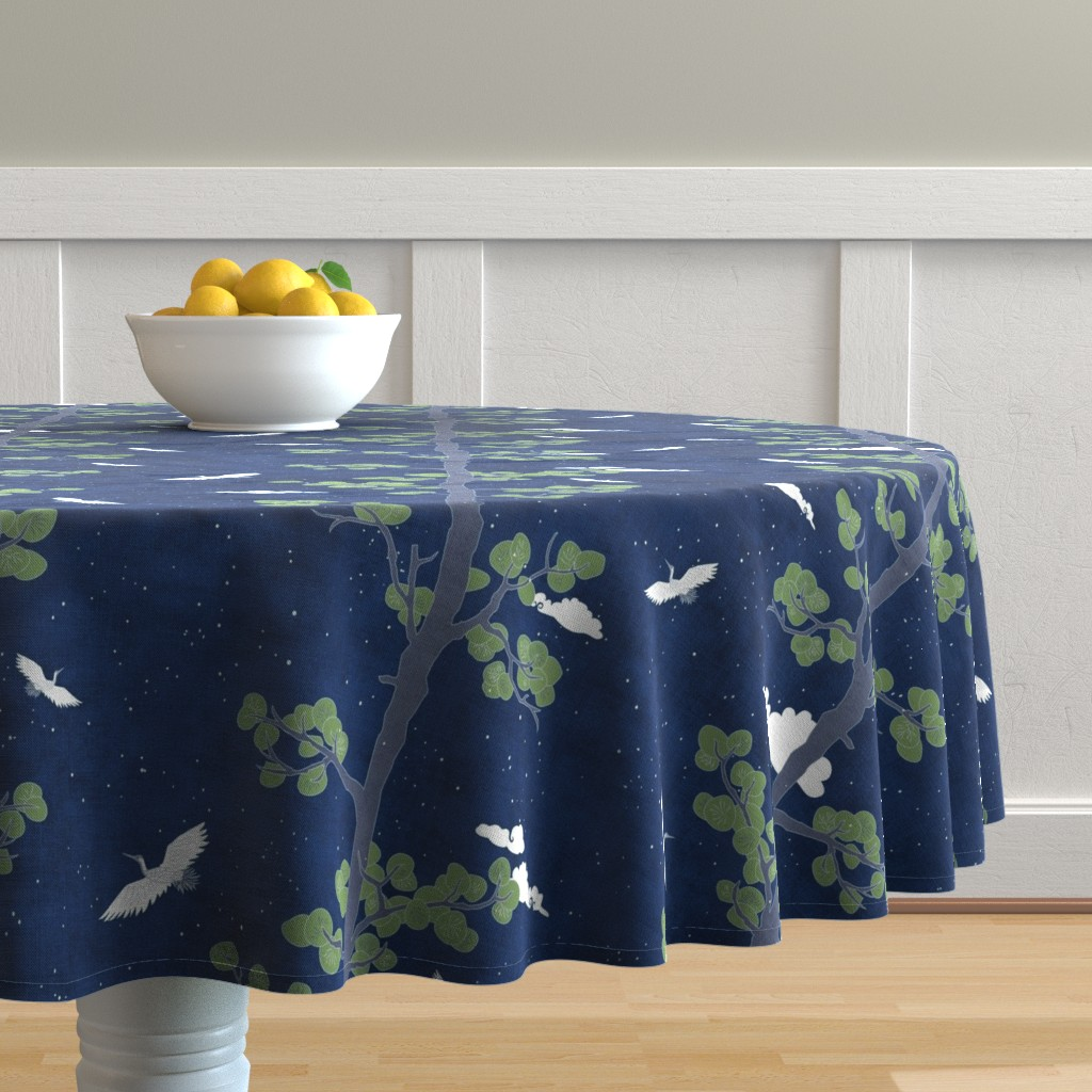 Malay Round Tablecloth featuring Forest Fabric, Crane Fabric | Indigo Japanese print fabric, bird fabric (large scale) by forest&sea