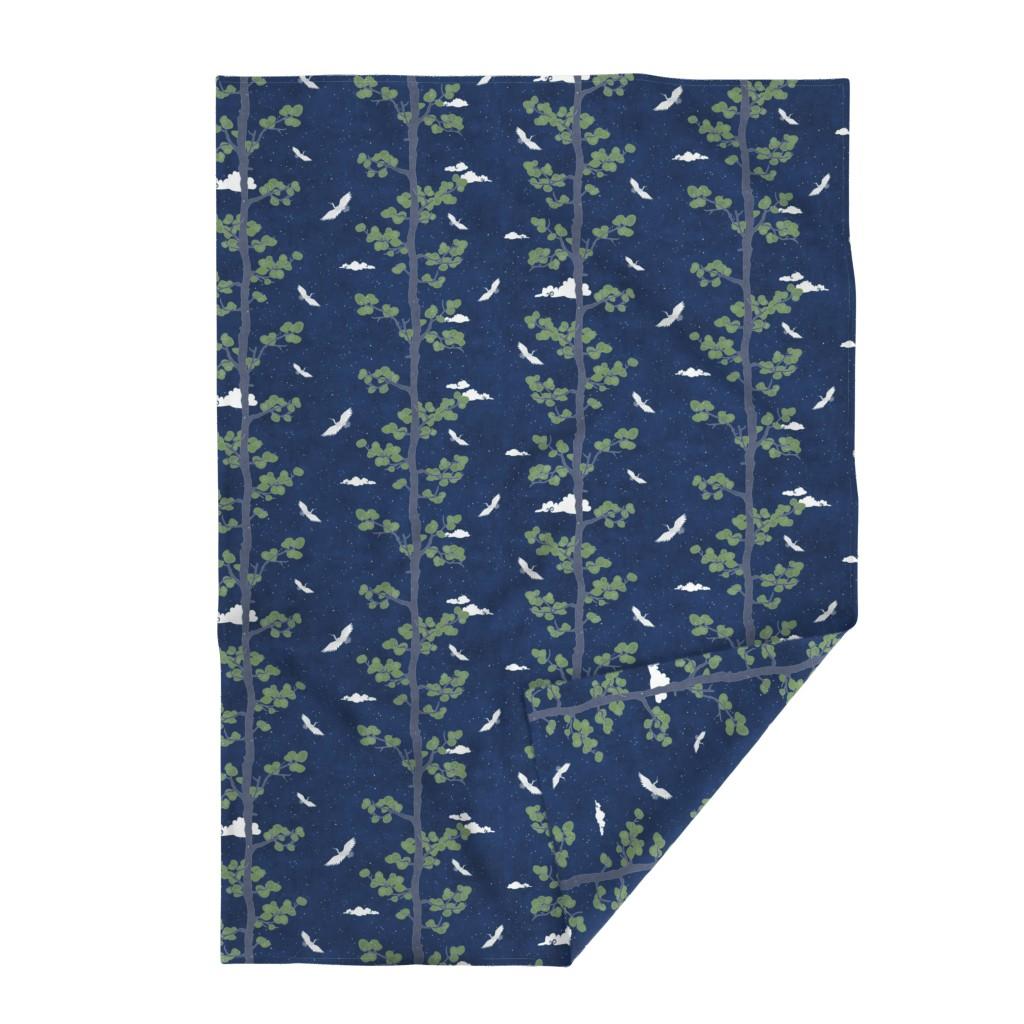 Lakenvelder Throw Blanket featuring Forest Fabric, Crane Fabric | Indigo Japanese print fabric, bird fabric (large scale) by forest&sea