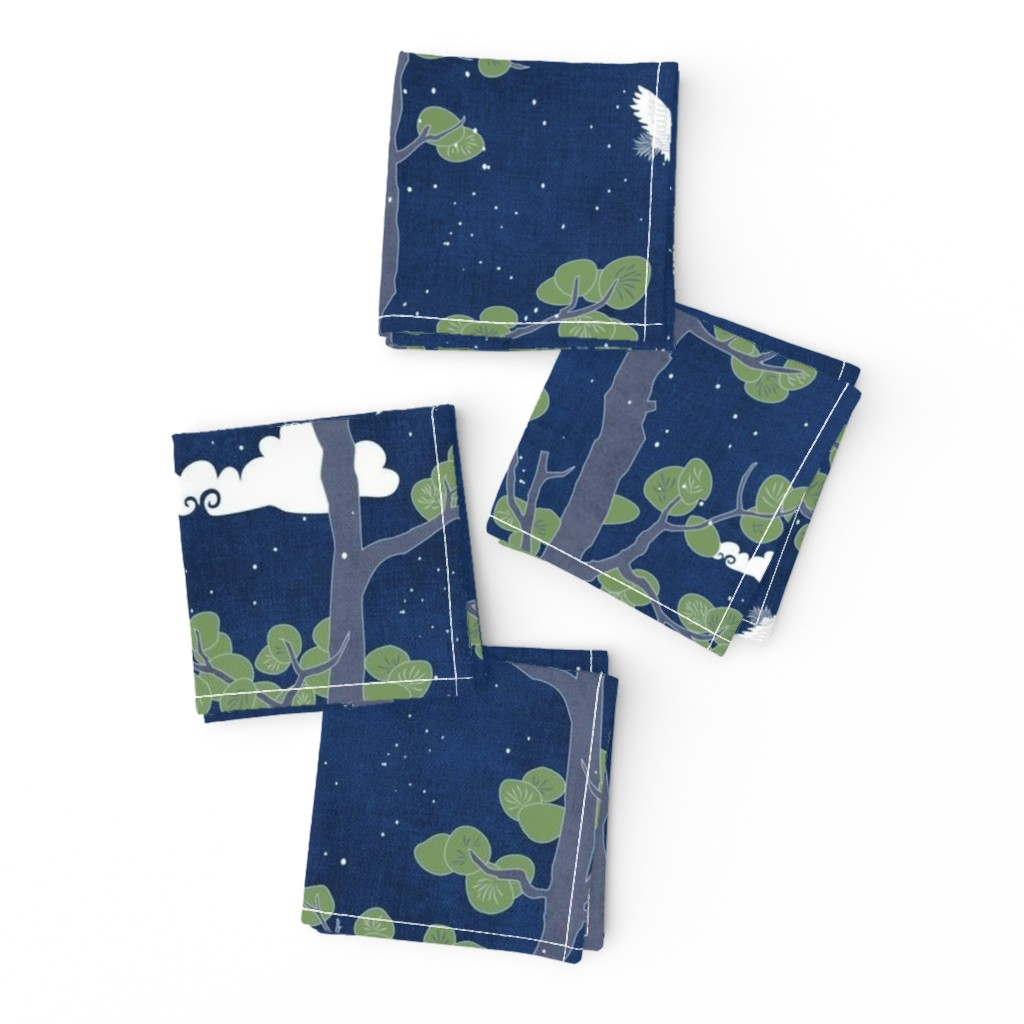 Frizzle Cocktail Napkins featuring Forest Fabric, Crane Fabric | Indigo Japanese print fabric, bird fabric (large scale) by forest&sea