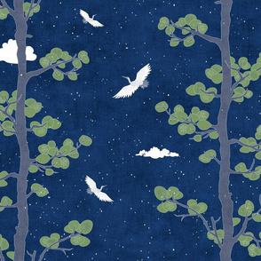 Forest Fabric, Crane Fabric | Indigo Japanese print fabric, bird fabric (large scale)