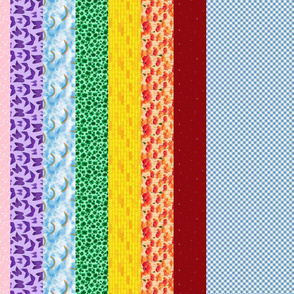 Wizard of Oz - Gingham and Rainbow Stripes by JoyfulRose