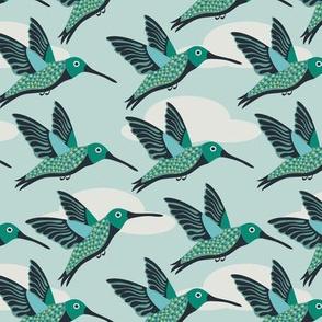 hummingbirds folk art on baby blue