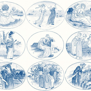 Kate Greenaway  ~ Language of the Flowers ~ Blue & White