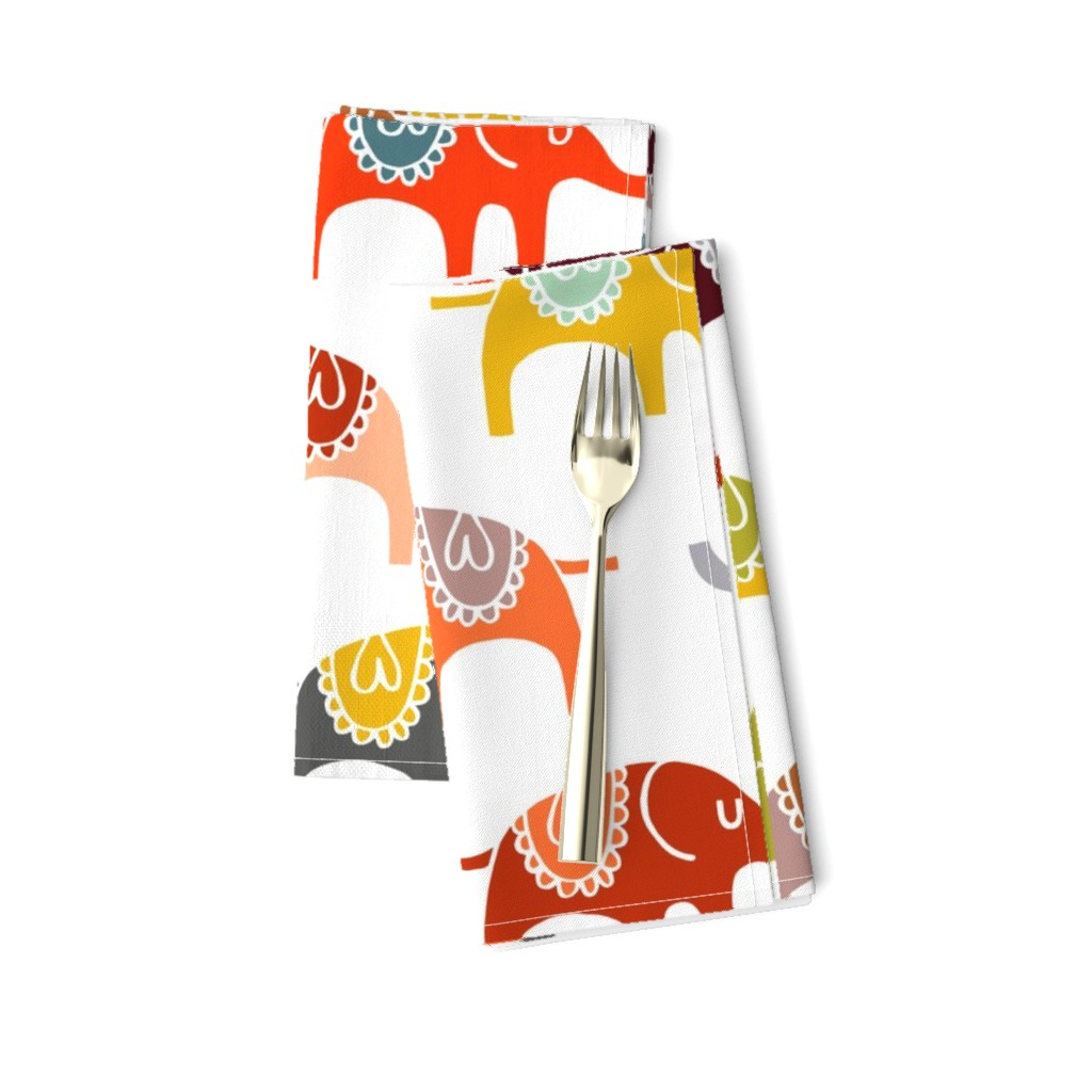 Amarela Dinner Napkins featuring elephant march wallpaper by endemic