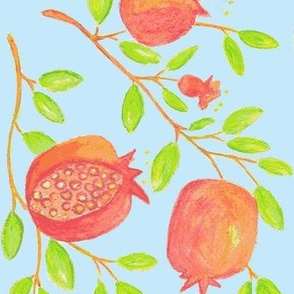 Pomegranate Branches (watercolor- sky blue)