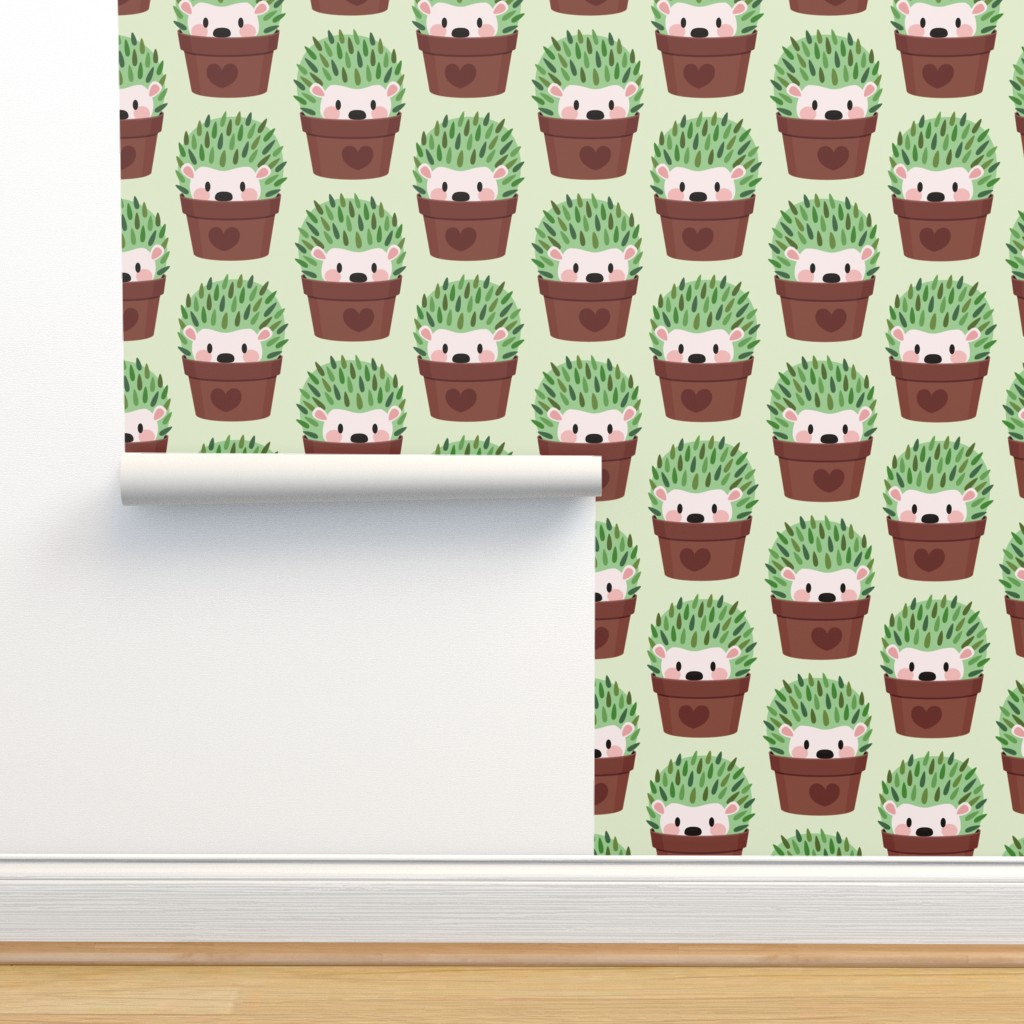 Isobar Durable Wallpaper featuring Smaller Hedgehogs disguised as cactuses by petitspixels