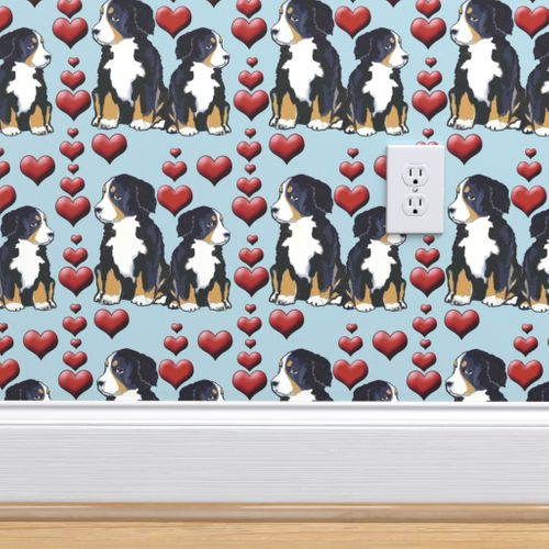 Wallpaper Bernese Mountain Dog Puppies And Hearts