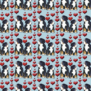 Bernese Mountain Dog Puppies And Hearts Spoonflower