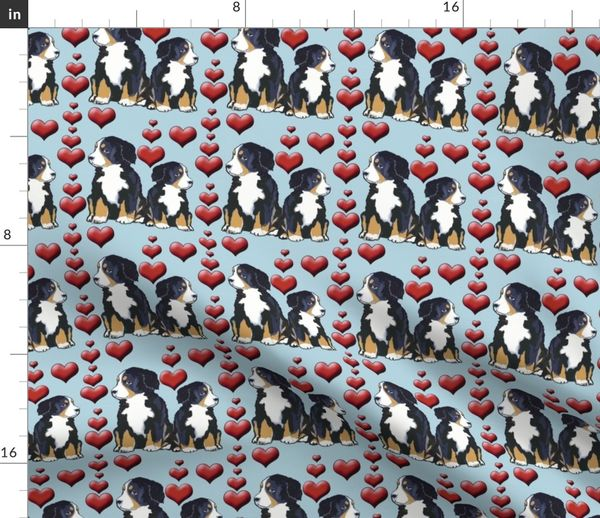Fabric By The Yard Bernese Mountain Dog Puppies And Hearts