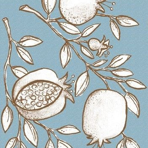 Pomegranate Branches! (slate sky, coffee & white)