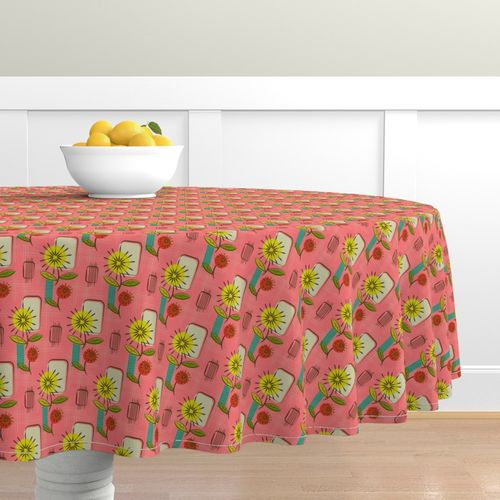 Colorful Fabrics Digitally Printed By Spoonflower Mid Century Modern Dandelions Salmon