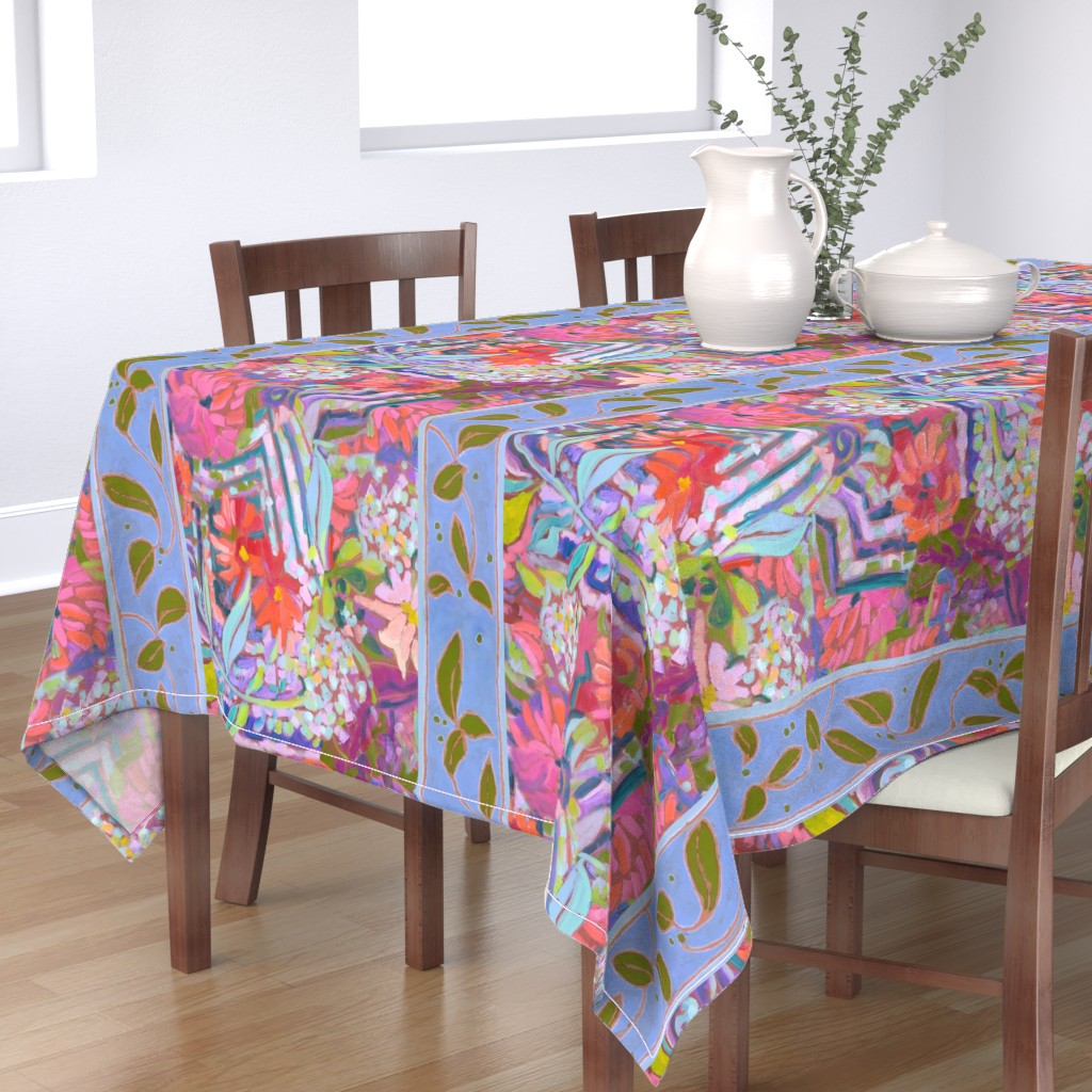 Bantam Rectangular Tablecloth featuring Zinnia Hydrangea Large Repeat Wide Stripe by dorothyfaganartist