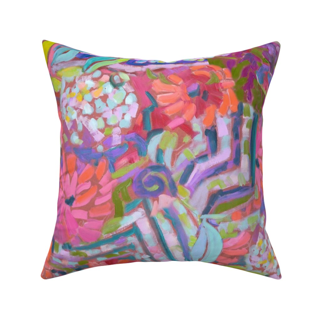 Catalan Throw Pillow featuring Zinnia Hydrangea Large Repeat Wide Stripe by dorothyfaganartist