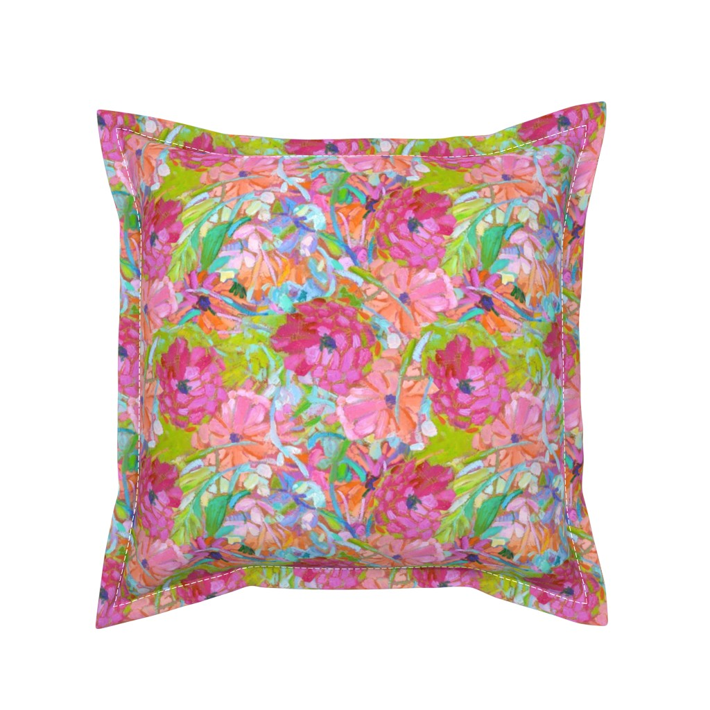 Serama Throw Pillow featuring Wildflower Jewels Small by dorothyfaganartist