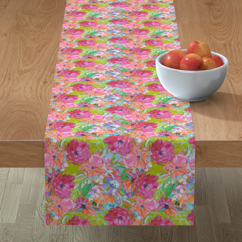 Minorca Table Runner featuring Wildflower Jewels Small by dorothyfaganartist