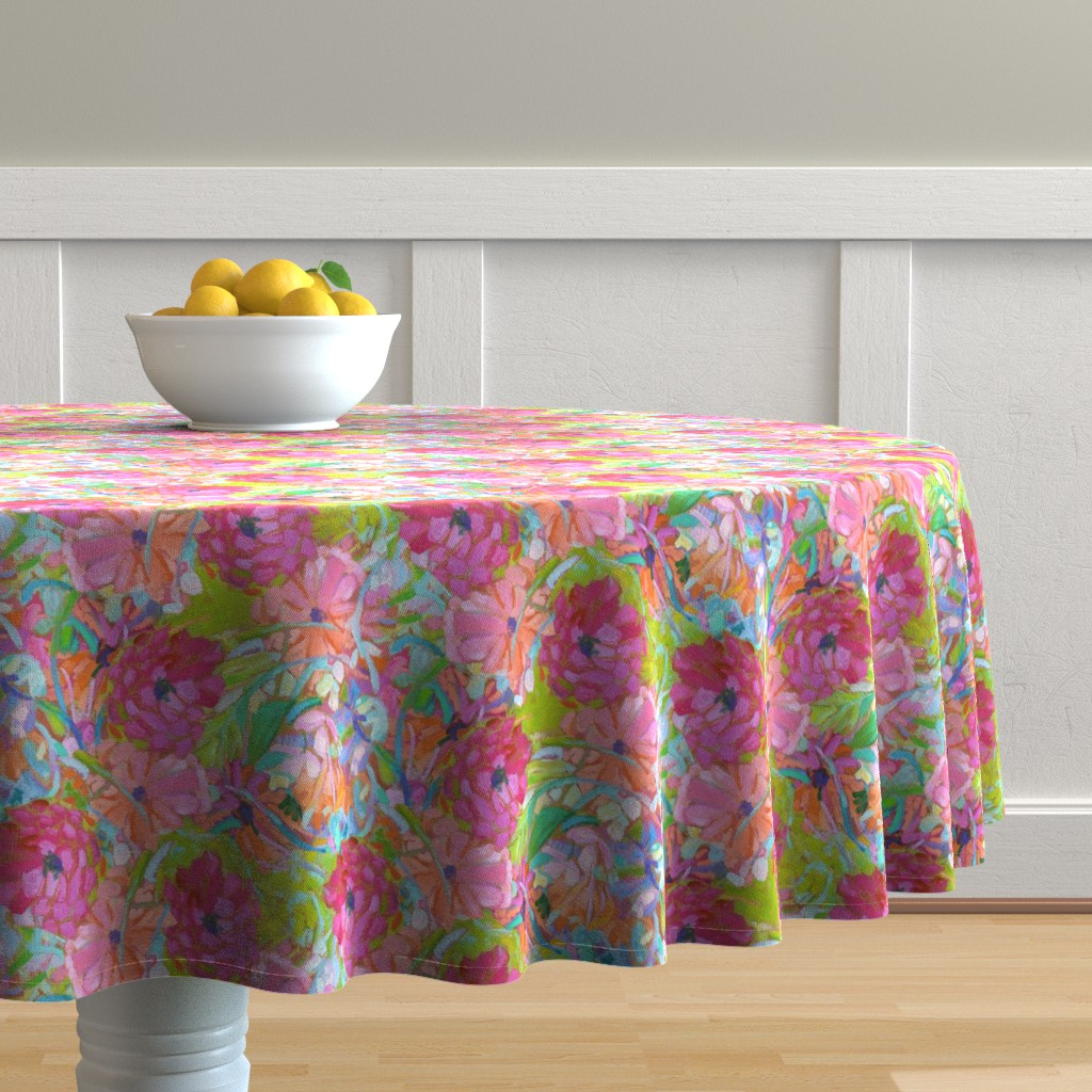 Malay Round Tablecloth featuring Wildflower Jewels Small by dorothyfaganartist