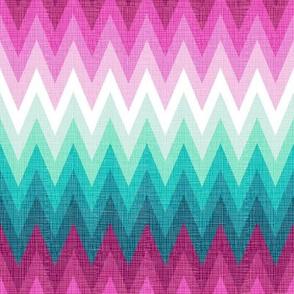 Ombre zig zags pink + aqua