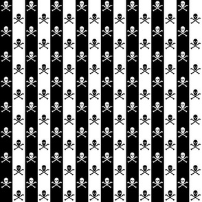 White and Black Skull and Crossbones on Black and White 1/2 inch Stripe