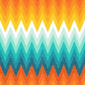 Ombre zig zag orange + aqua