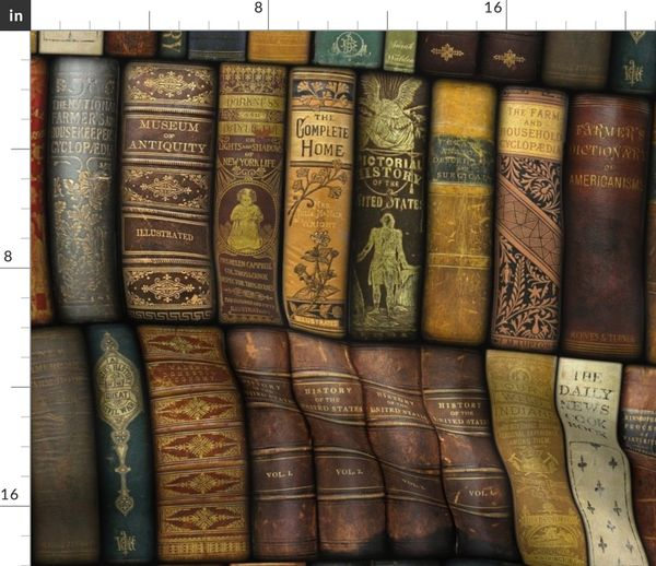 Tissu Au Metre Amusant Ancien Livre Bibliotheque Livres Etageres Fantaisie Spirituel