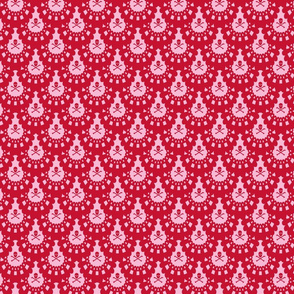 Skull and Crossbones Lace - Red on Pink